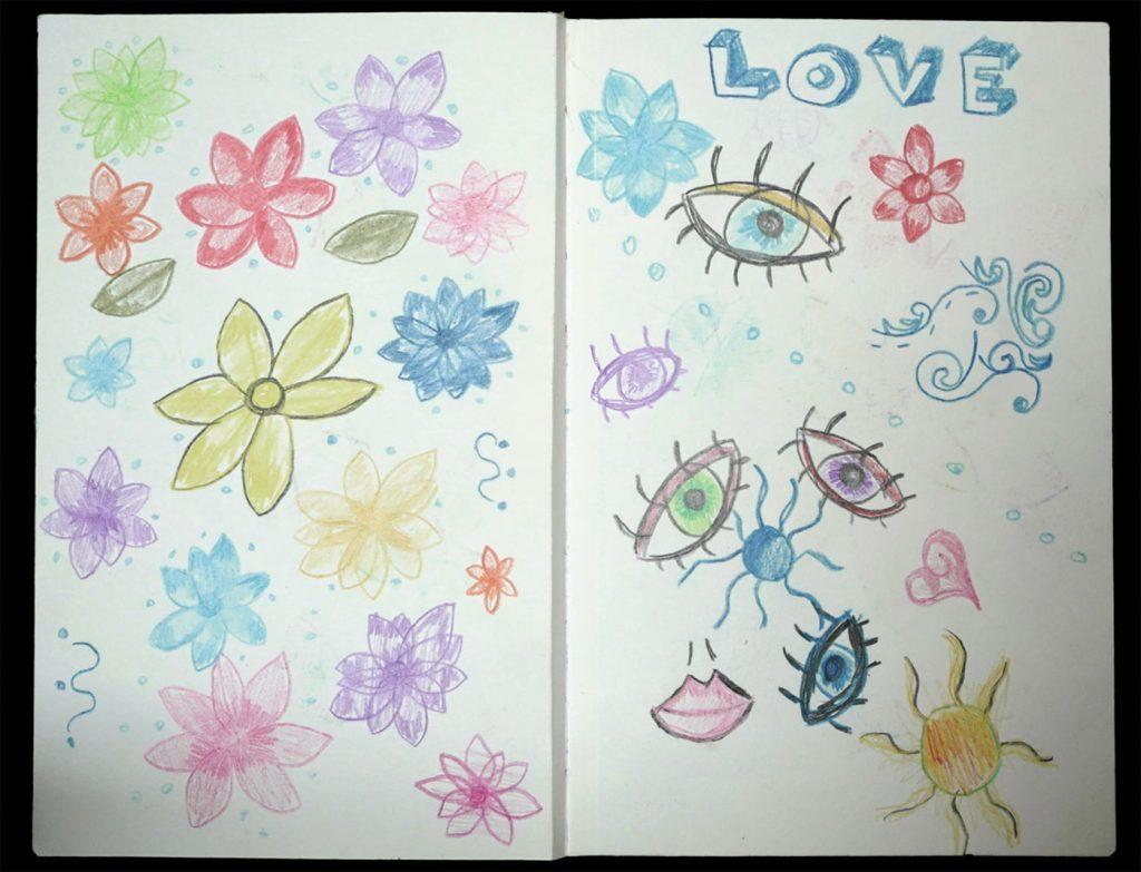 artwork depicting flowers and eyes: LOVE