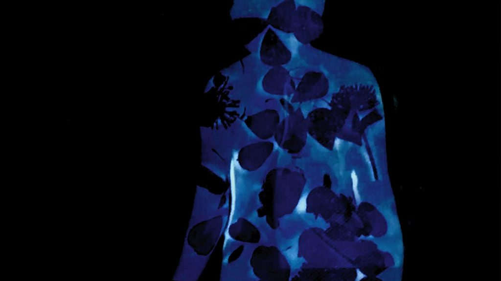 abstract figure in blue tones