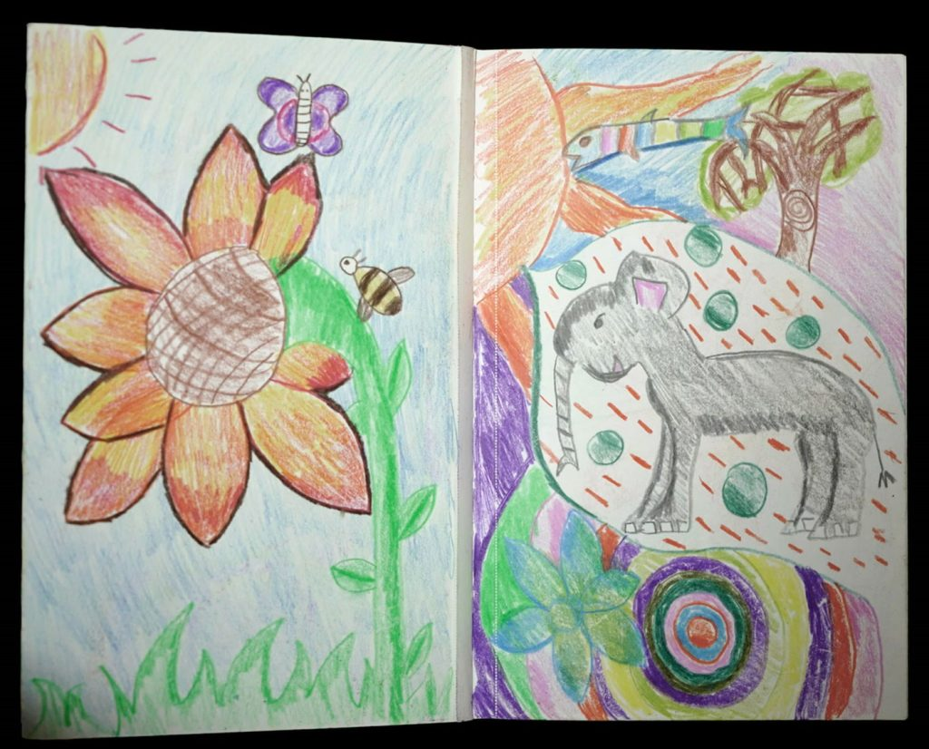 artworks depicting flowers and animals: Untitled